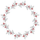 Wreath with Decorative Decorative Brunches Stock Photos