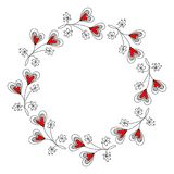 Round Wreath with Decorative Hearts Royalty Free Stock Images