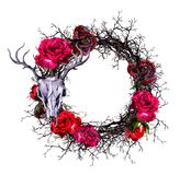 Wreath with deer`s skull, red roses, branches. Watercolor border for Halloween Royalty Free Stock Images