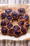 Wreath dessert made of blueberries rolls Royalty Free Stock Photography