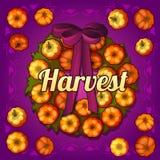 Wreath on the door of pumpkins Royalty Free Stock Photos