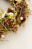 Wreath of dry branches and flowers Stock Photos