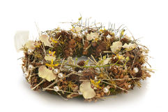 Wreath of dry branches and flowers Stock Images