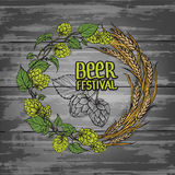 A wreath of ears of wheat and hops Stock Photos