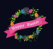 Wreath Easter color eggs Royalty Free Stock Photos