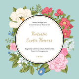 Wreath with exotic flowers. Stock Photos