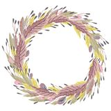 Wreath with fantasy plants and leaves. Decorative floral design elements for invitation, wedding or greeting cards. Royalty Free Stock Photography