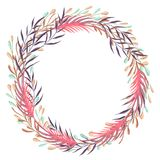 Wreath with fantasy plants and leaves. Decorative floral design elements for invitation, wedding or greeting cards. Stock Image