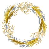 Wreath with fantasy plants and leaves. Decorative floral design elements for invitation, wedding or greeting cards. Royalty Free Stock Photos