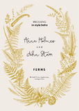 The wreath of ferns leaves. Wedding invitation in the style of boho. Vector botanical vintage illustration Royalty Free Stock Images