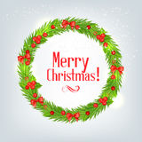 Wreath of fir branches with Christmas holly. Vector illustration Stock Images