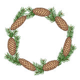 Wreath with fir branches and cones. Detailed vintage illustration Stock Photography