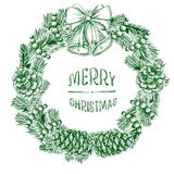 Wreath of fir branches. Realistic vintage engraving wreath of fir branches and pine cones, handwritten inscription Merry Christmas,  Christmas ball, beads beads Royalty Free Stock Photo