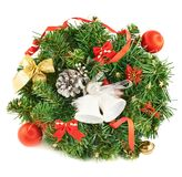 Wreath fir-tree branch decoration Royalty Free Stock Image