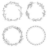 Wreath flower Frame border simple plants leaf cute black lovely Royalty Free Stock Image