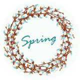Wreath of flowering willow twigs. Vector illustration. Vector image of a wreath of willow twigs and inscription on a light background. Spring theme. For Stock Photos