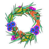 Wreath with flowers and barries. Illustration wreath with flowers and barries , hand painted isolated on white background Royalty Free Stock Images