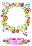 Wreath of flowers, decorative watercolor flowers, ribbon banner with watercolor texture Stock Photos