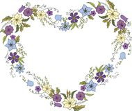 Wreath of flowers in Doodle style in the form of a heart. Flower frame in vector on white background royalty free illustration