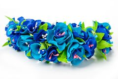 Wreath of flowers from fameirana handmade gently blue and purple on a white background.  Stock Photo