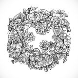Wreath of Flowers fantasy invented graphic drawing in ink Royalty Free Stock Photo