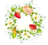 Wreath from flowers and fruits Royalty Free Stock Photography