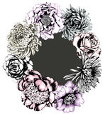 Wreath of Flowers. Gray Background. Royalty Free Stock Image