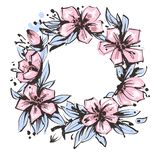 Wreath of flowers in hand drawn ink with white background royalty free illustration