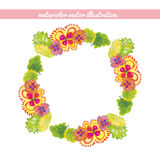Wreath of flowers and leaves watercolor. vector illustration Royalty Free Stock Photos