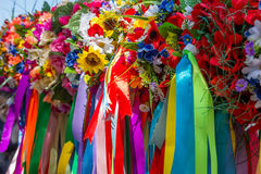 Wreath of flowers and ribbons, national cloths of Ukraine Stock Photography