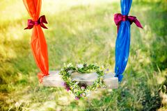 Wreath of flowers in the shape of a heart Stock Photos