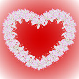A wreath of flowers in the shape of a heart. Vector illustration Royalty Free Stock Image