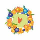 Wreath of flowers. With a sweet heart Royalty Free Stock Image