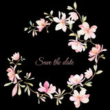 Wreath of flowers in watercolor style Royalty Free Stock Photo