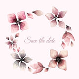 Wreath of flowers in watercolor style on white background Stock Photo