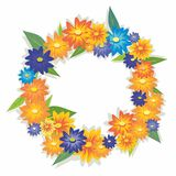 A wreath of flowers. On white background Royalty Free Stock Photo
