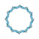 Wreath of forget-me-not. Vector template frame Royalty Free Stock Photos