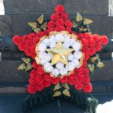 Wreath in the form of a star from a carnation. A symbol of victory, May 9 royalty free stock photos