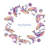 Wreath, frame border of watercolor whales. Hand painted on a white background Stock Images