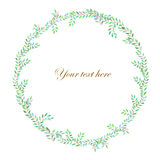 Wreath (frame) of branches with green leaves Stock Images