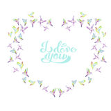 Wreath (frame) of colibri. Painted in watercolor on a white background, decoration postcard, greeting card or invitation Royalty Free Stock Photo
