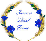 Wreath frame with cornflowers and ears Stock Photos