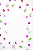 Wreath frame heart with roses, chamomile buds, leaves, petals isolated on white background Royalty Free Stock Images