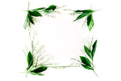 Wreath frame with lily of the valley, branches and leaves Stock Images