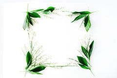 Wreath frame with lily of the valley, branches and leaves isolated on white background Royalty Free Stock Photo