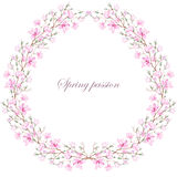 Wreath (frame) of pink magnolia Royalty Free Stock Images