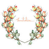 A wreath (frame) of the red and yellow roses painted in a watercolor, a place for a text Royalty Free Stock Photo