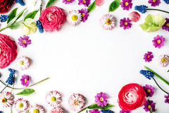 Wreath frame with roses, muscari, chamomile, ranunculus Stock Images