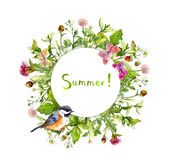 Wreath frame - summer flowers, bird, butterflies. Watercolor card, round border Stock Photo
