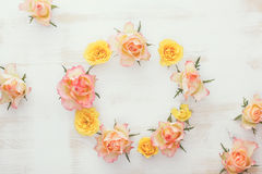 Wreath with fresh roses royalty free stock image